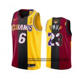 Canotte Los Angeles Lakers Lebron James 2020 Fmvp Heat Cavaliers Split Dual Number Rosso Or