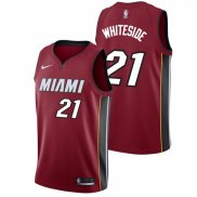 Canotte NBA Autentico Heat Whiteside 2017-18 Rosso